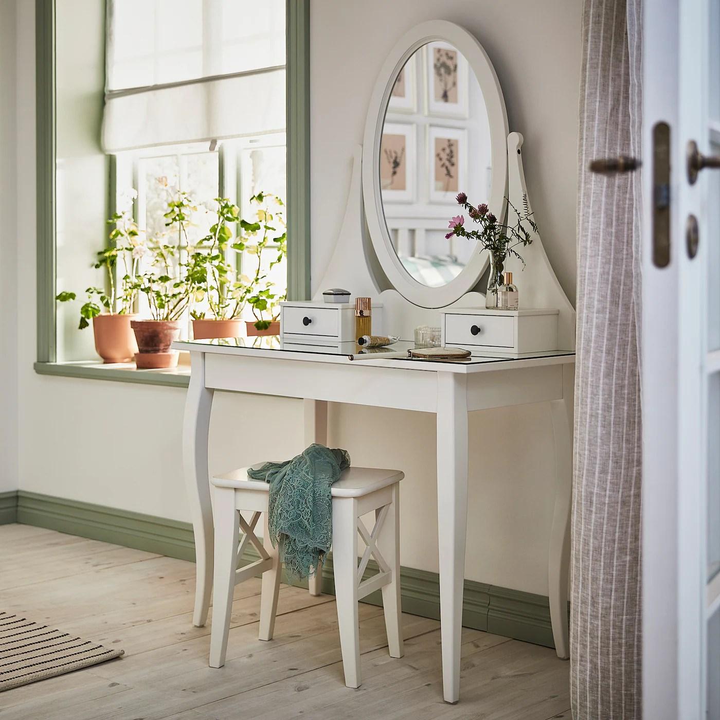 Hemnes Coiffeuse Avec Miroir Blanc 100x50 Cm Ikea