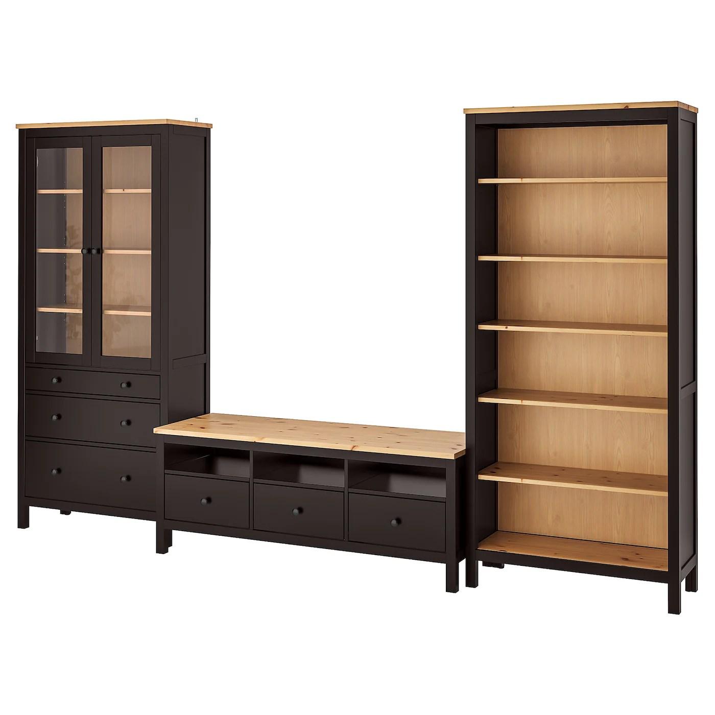 hemnes combinaison meuble tv brun noir brun clair verre transparent 326x197 cm