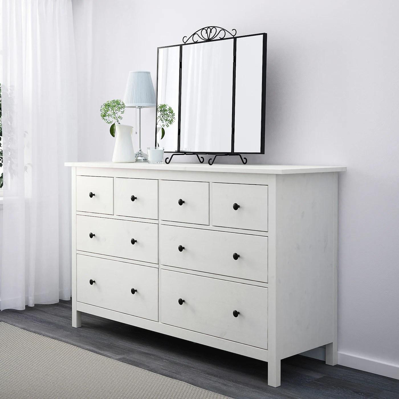 hemnes commode 8 tiroirs teinte blanc 160x96 cm
