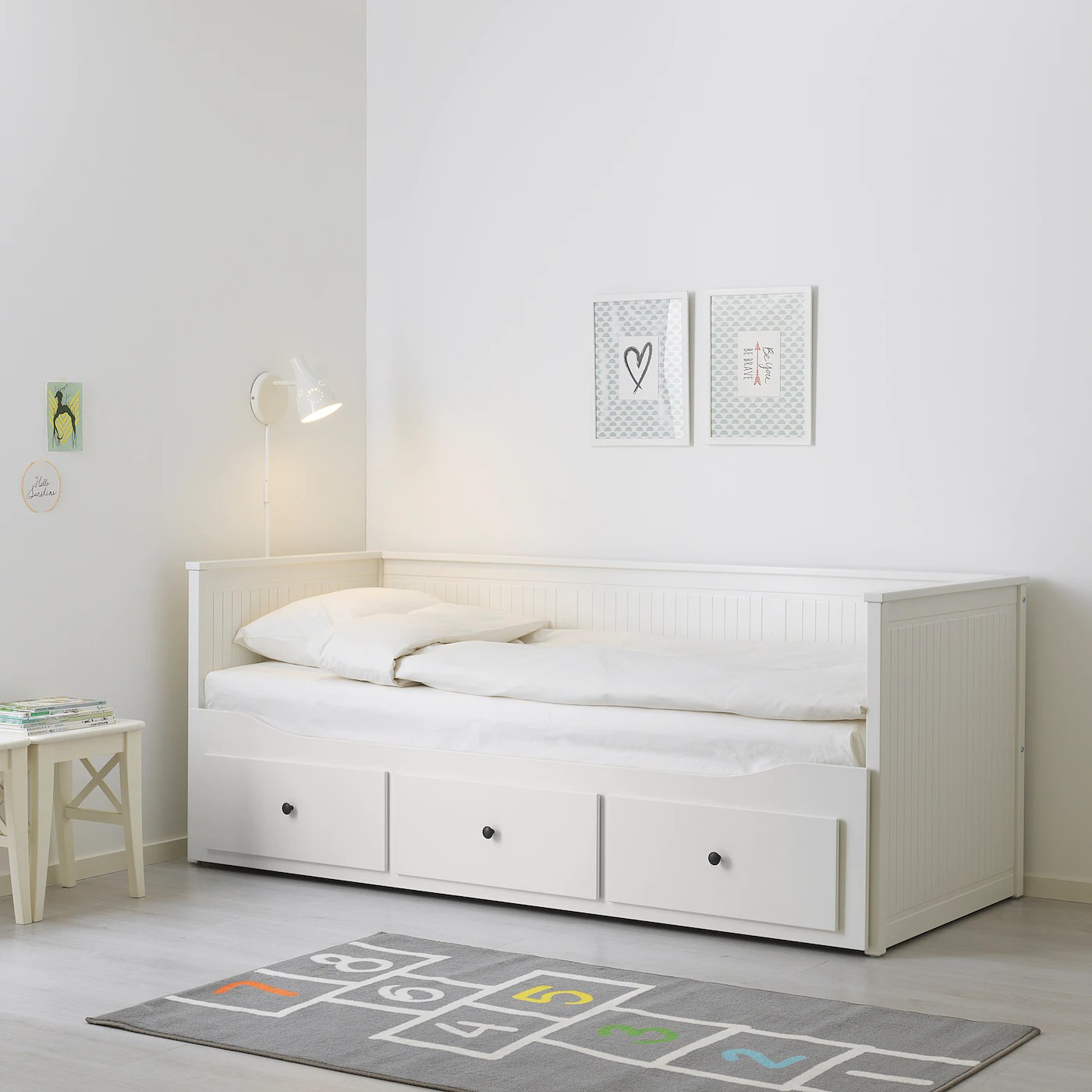 Hemnes Lit Banquette 2 Places Structure Blanc 80x200 Cm Ikea