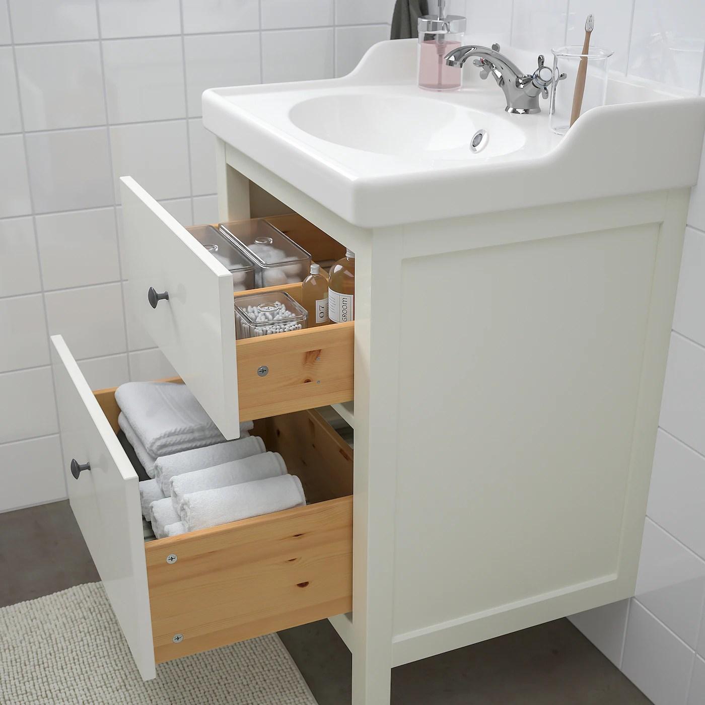 Hemnes Rattviken Mobilier Salle De Bain 4 Pieces Blanc Runskar Mitigeur Lavabo Ikea