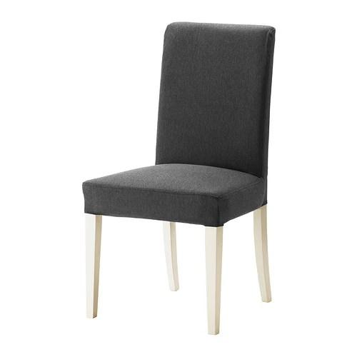 HENRIKSDAL Chaise  Dansbo gris fonc blanc  IKEA