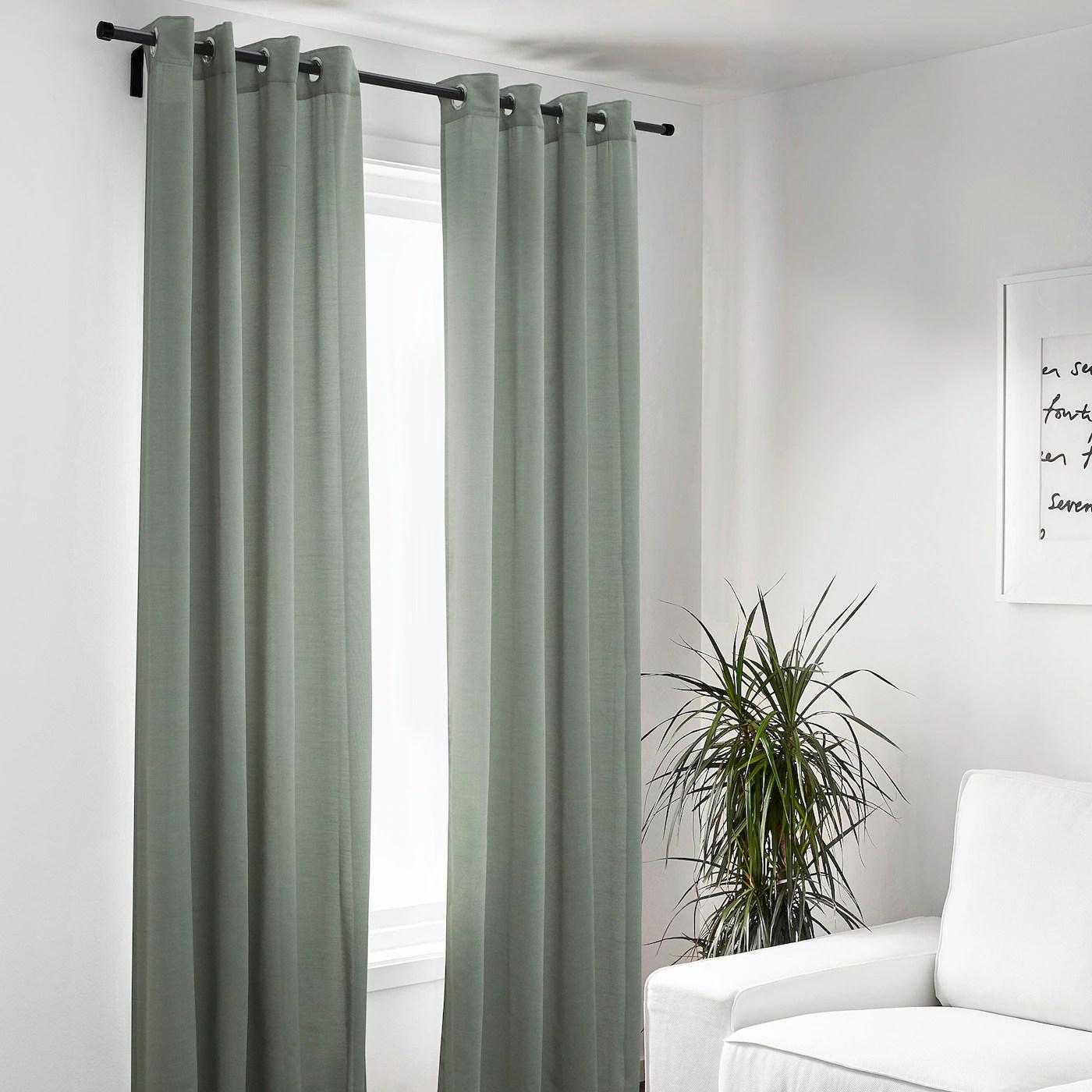 hilja rideaux 2 pieces gris vert avec oeillets 145x300 cm