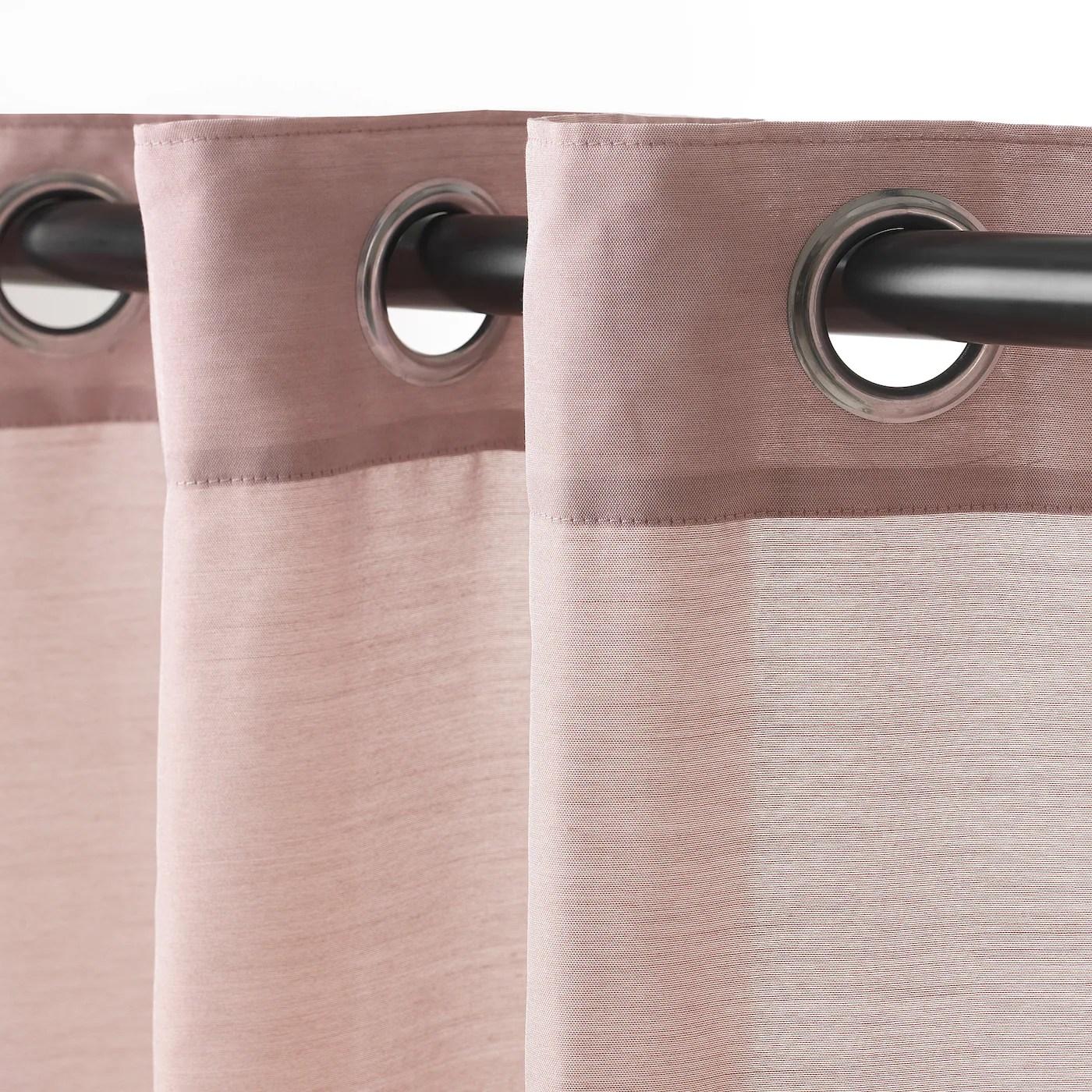 hilja rideaux 2 pieces rose avec oeillets 145x300 cm