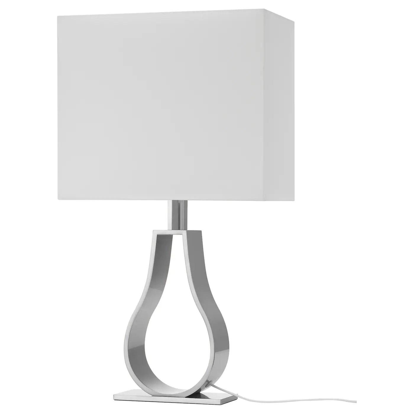 klabb lampe de table blanc casse nickele 60 cm