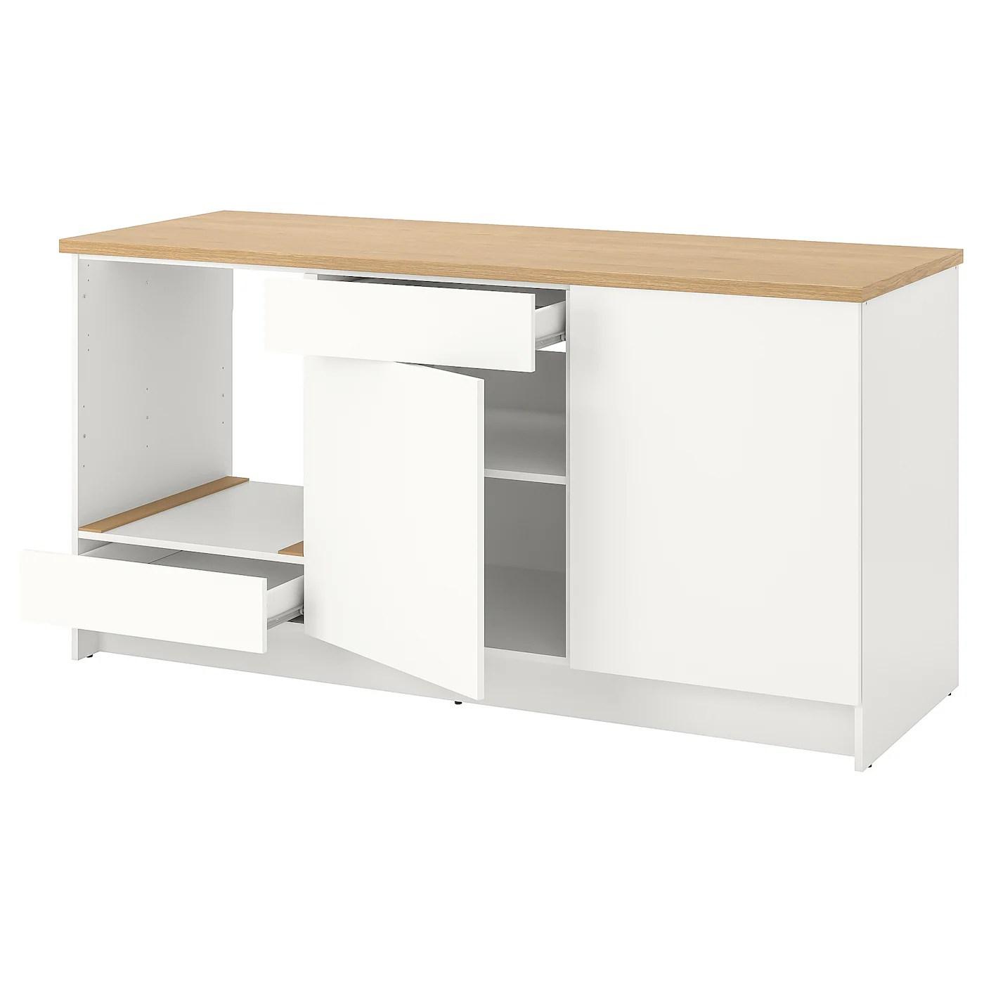 knoxhult element bas avec portes et tiroir blanc 180 cm