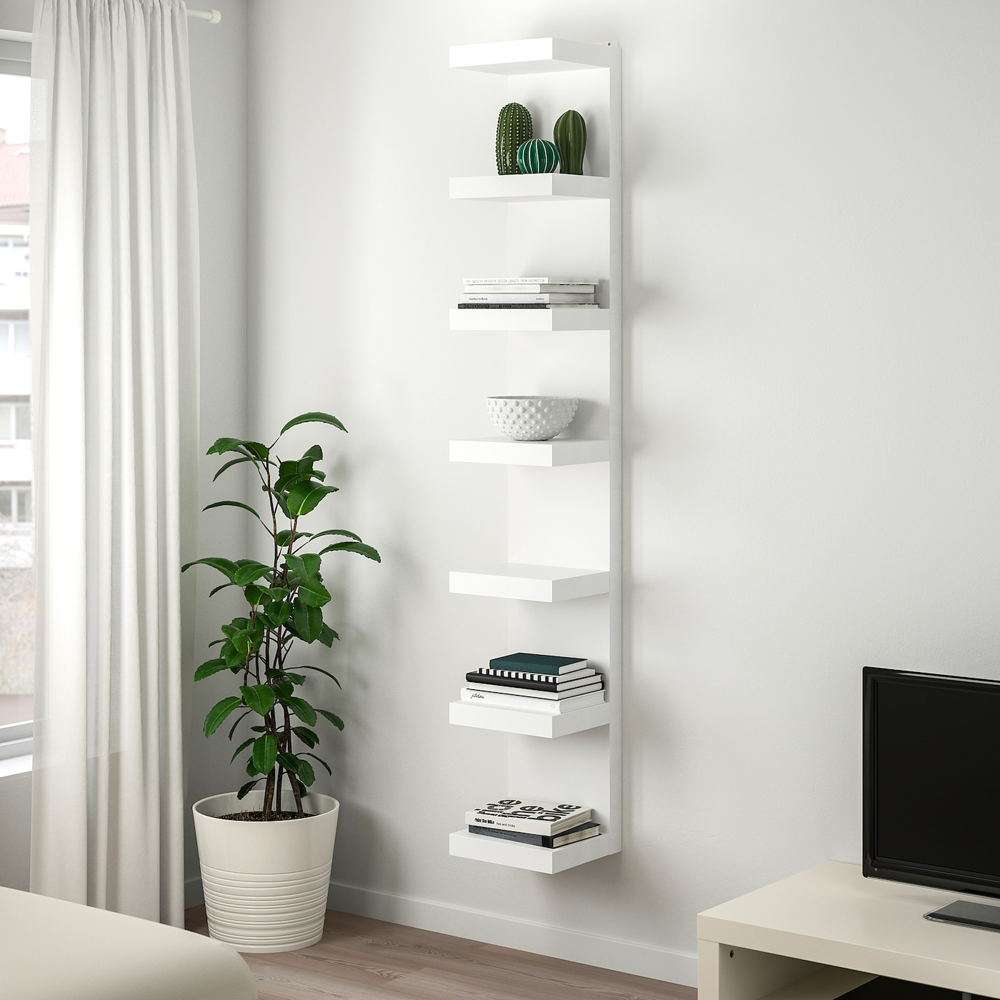 lack etagere blanc 30x190 cm