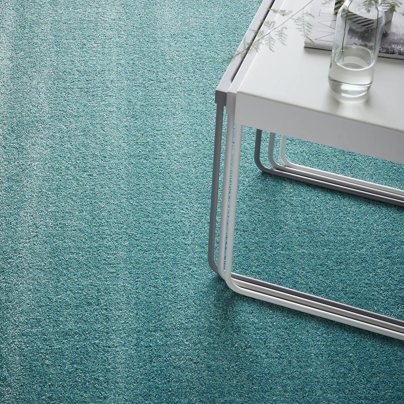 langsted tapis poils ras turquoise 170x240 cm