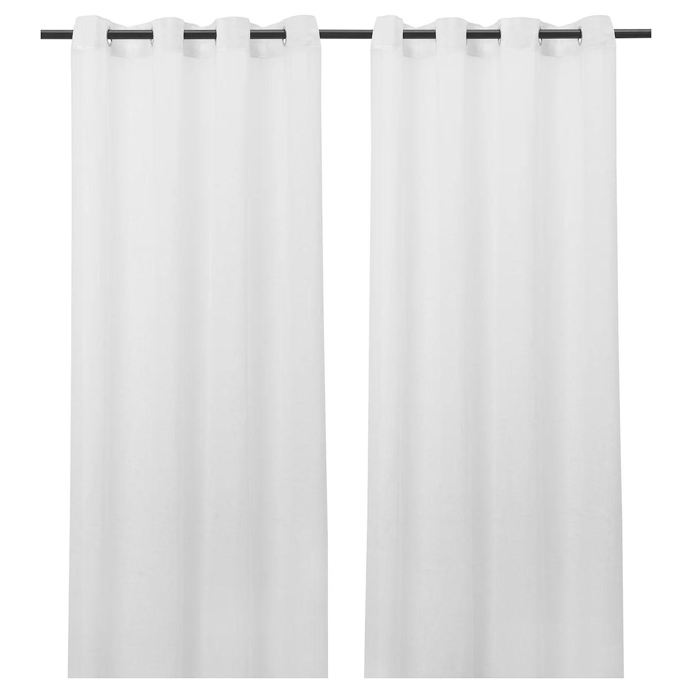 lejongap rideaux 2 pieces blanc avec oeillets 145x300 cm
