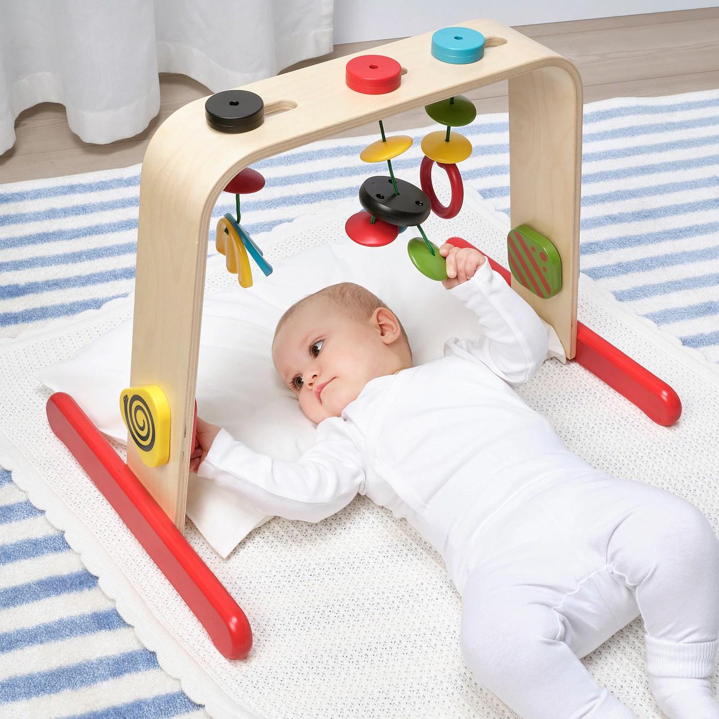 leka portique bebe bouleau multicolore