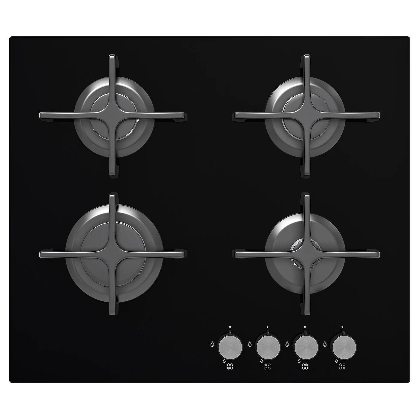 livsgnista table de cuisson a gaz verre noir
