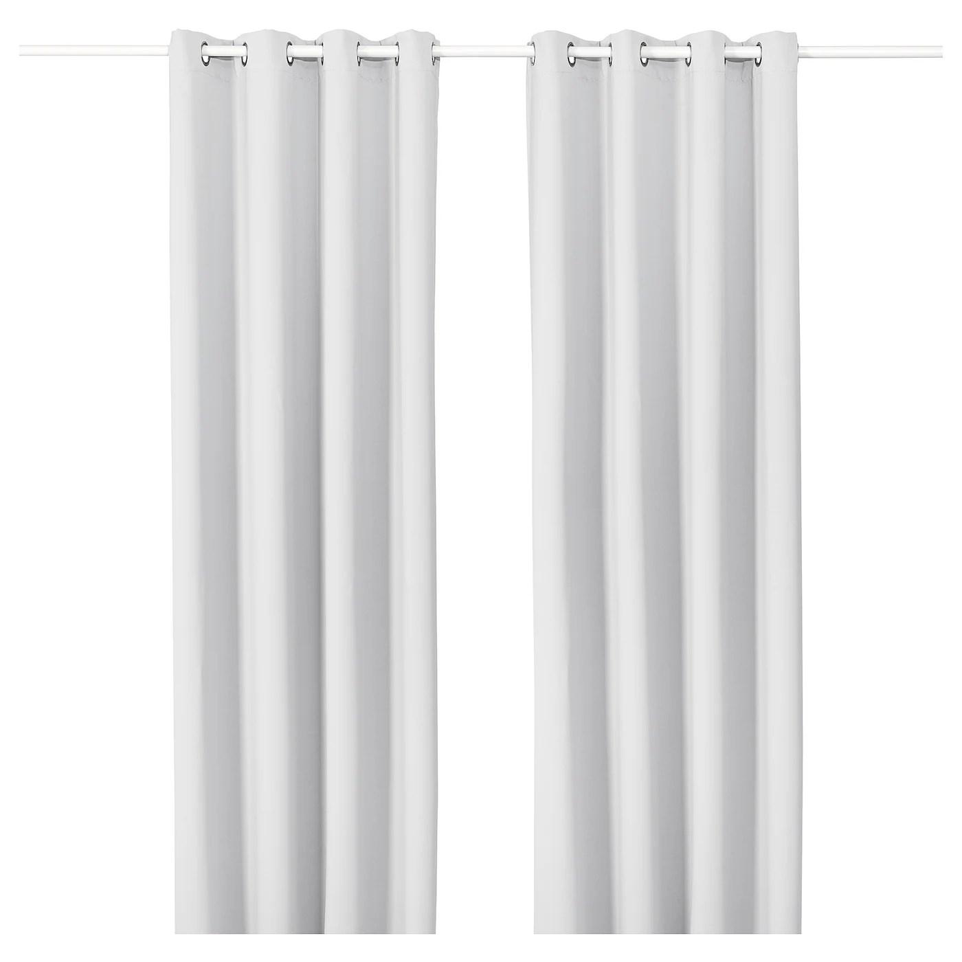 majgull rideaux 2 pieces avec oeillets gris clair 145x300 cm
