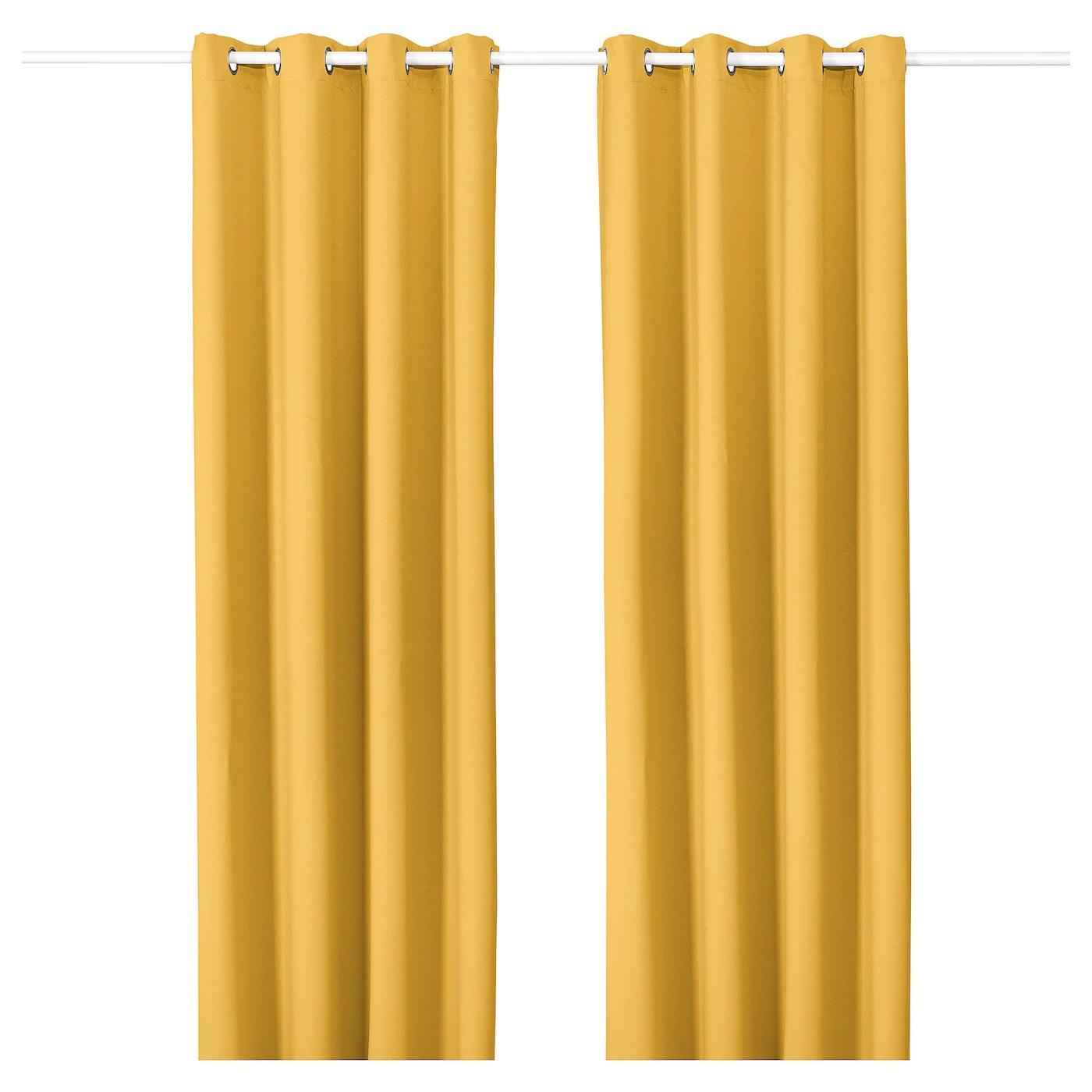 majgull rideaux 2 pieces avec oeillets jaune 145x300 cm
