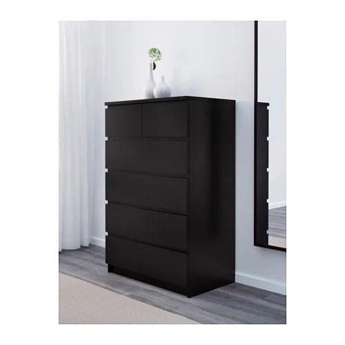 MALM Commode 6 Tiroirs Brun Noir IKEA