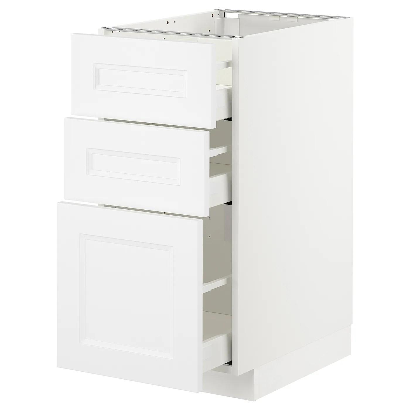 metod element bas 3 tiroirs blanc axstad blanc mat 40x60 cm