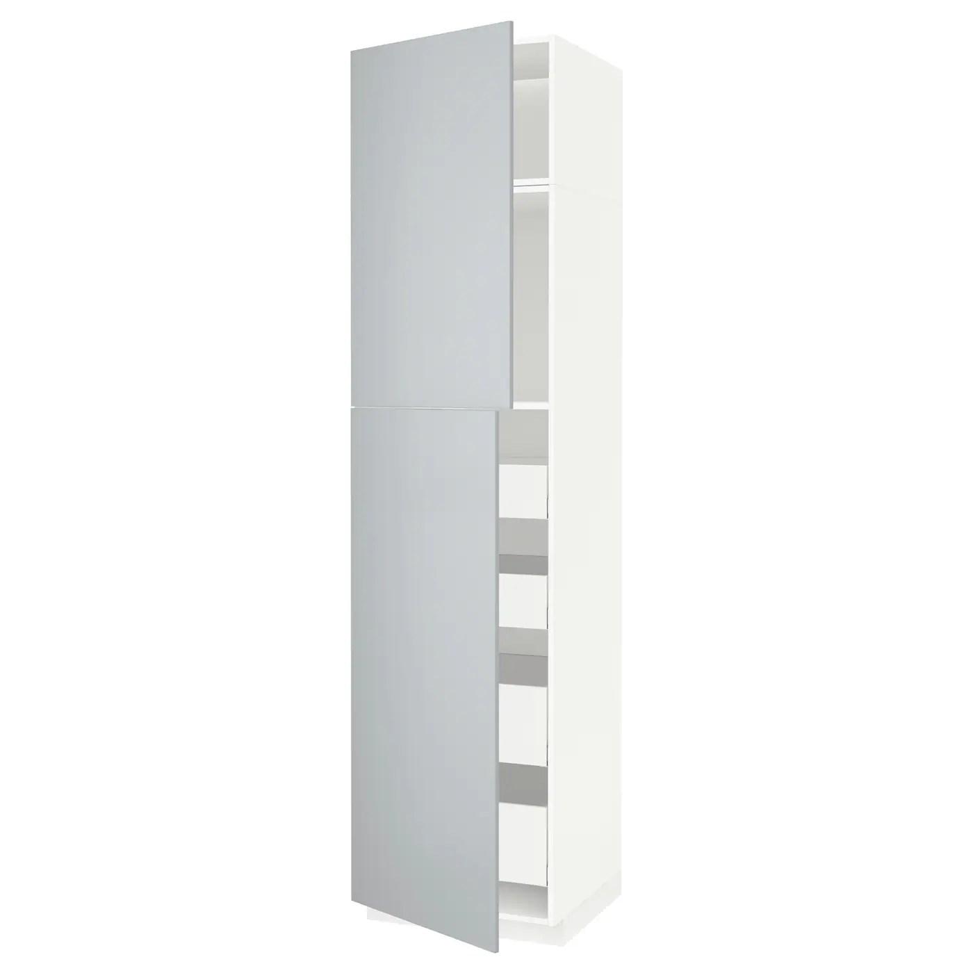 Metod Maximera Armoire 2 Portes 4 Tiroirs Blanc Veddinge Gris 60x60x240 Cm Ikea