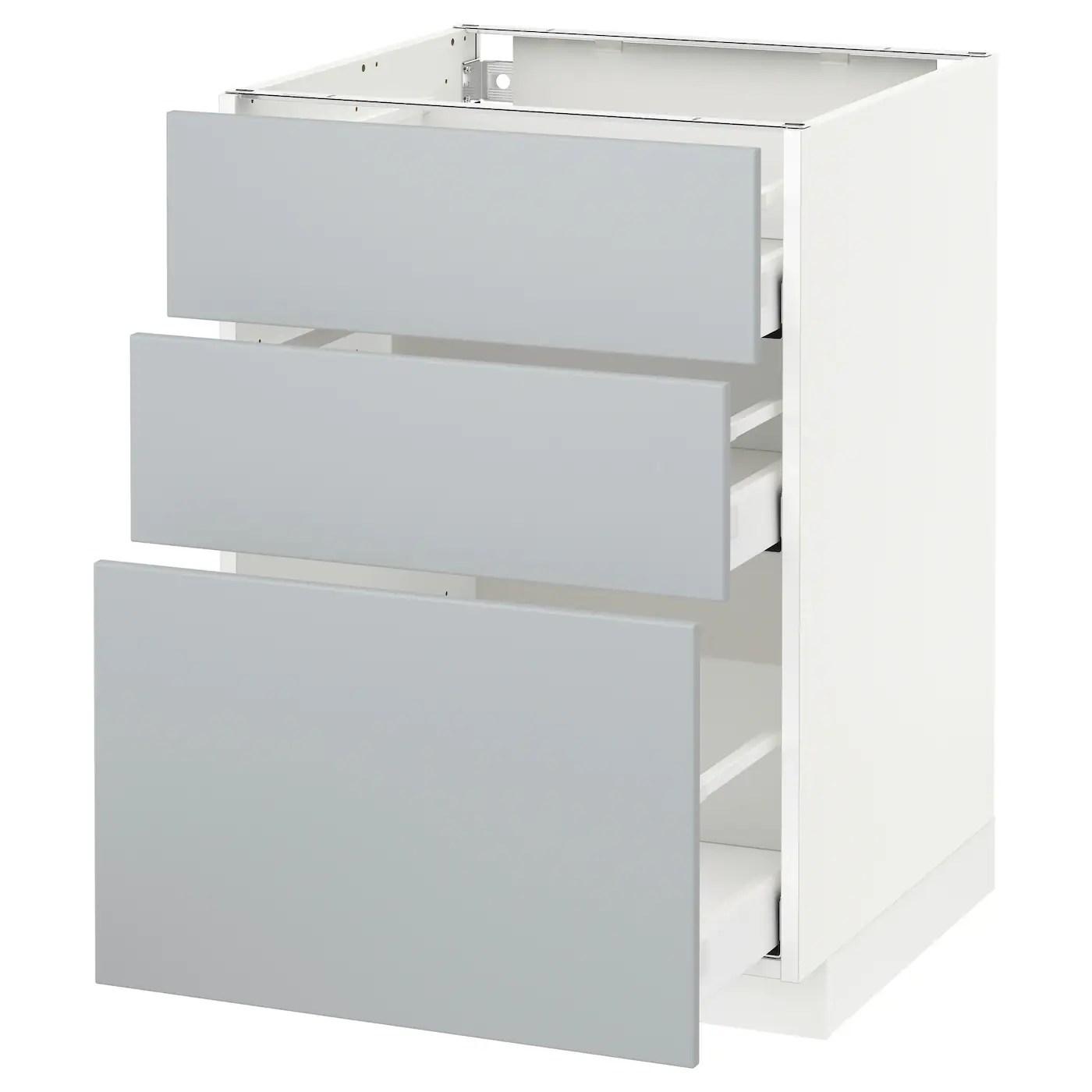 metod maximera element bas 3 tiroirs blanc veddinge gris 60x60 cm