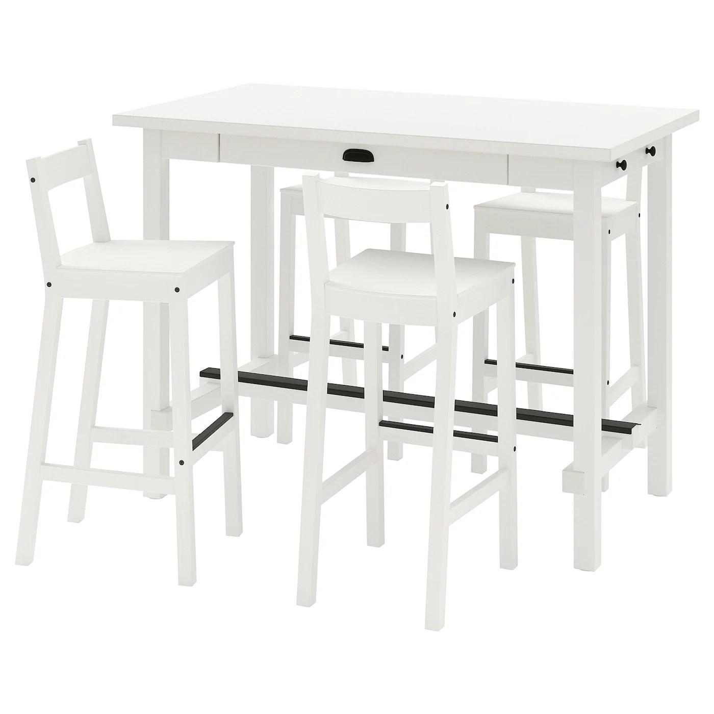 nordviken nordviken table de bar 4 tabourets blanc blanc