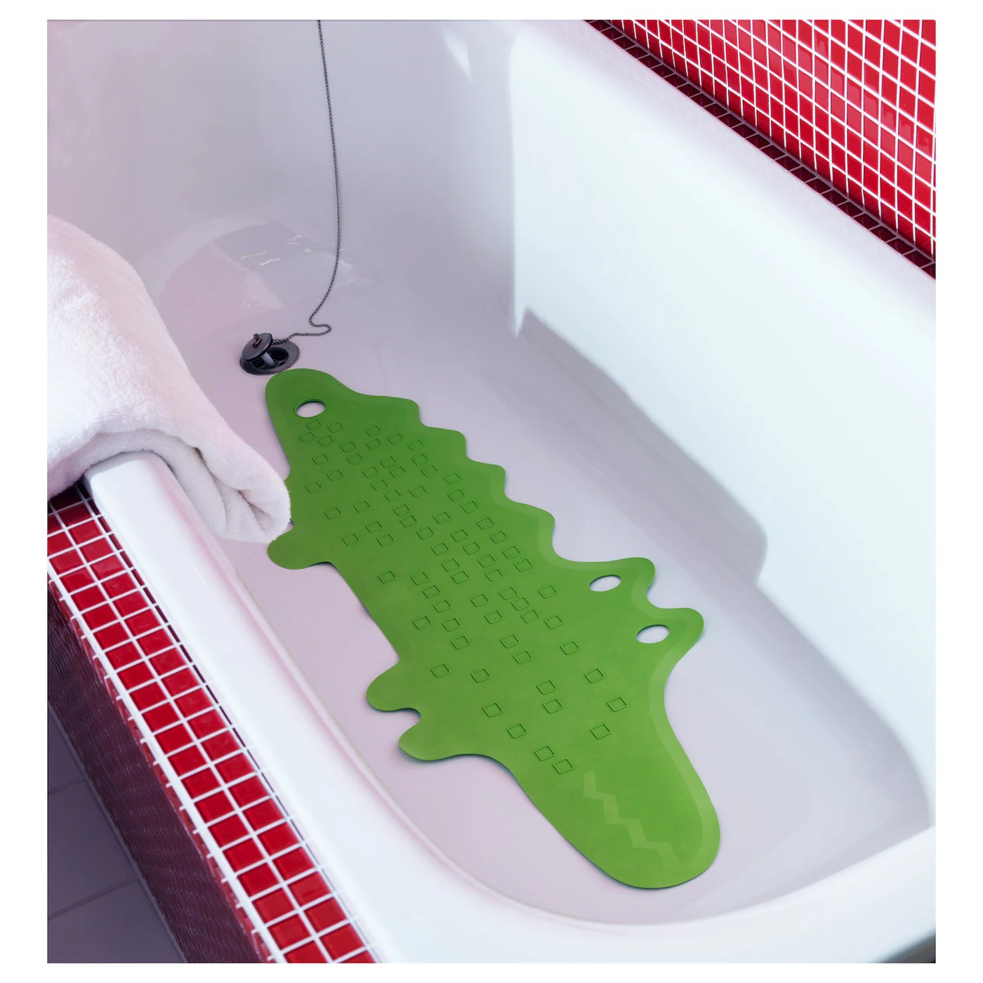patrull tapis de baignoire crocodile vert 33x90 cm