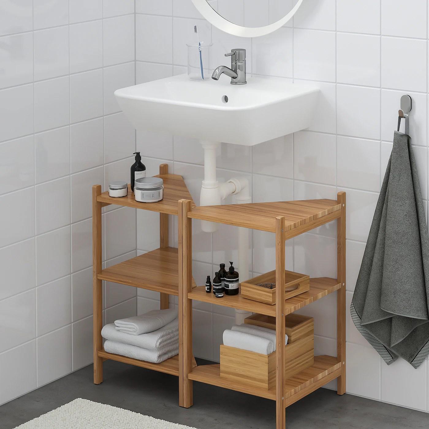 Ragrund Tyngen Lavabo Tablette Angle Bambou Pilkan Mitigeur Lavabo Ikea
