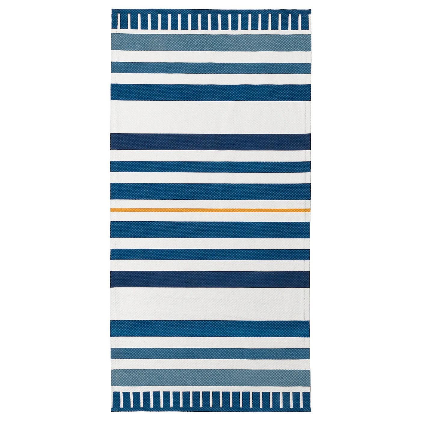 sanglarka tapis tisse a plat bleu fonce 80x160 cm