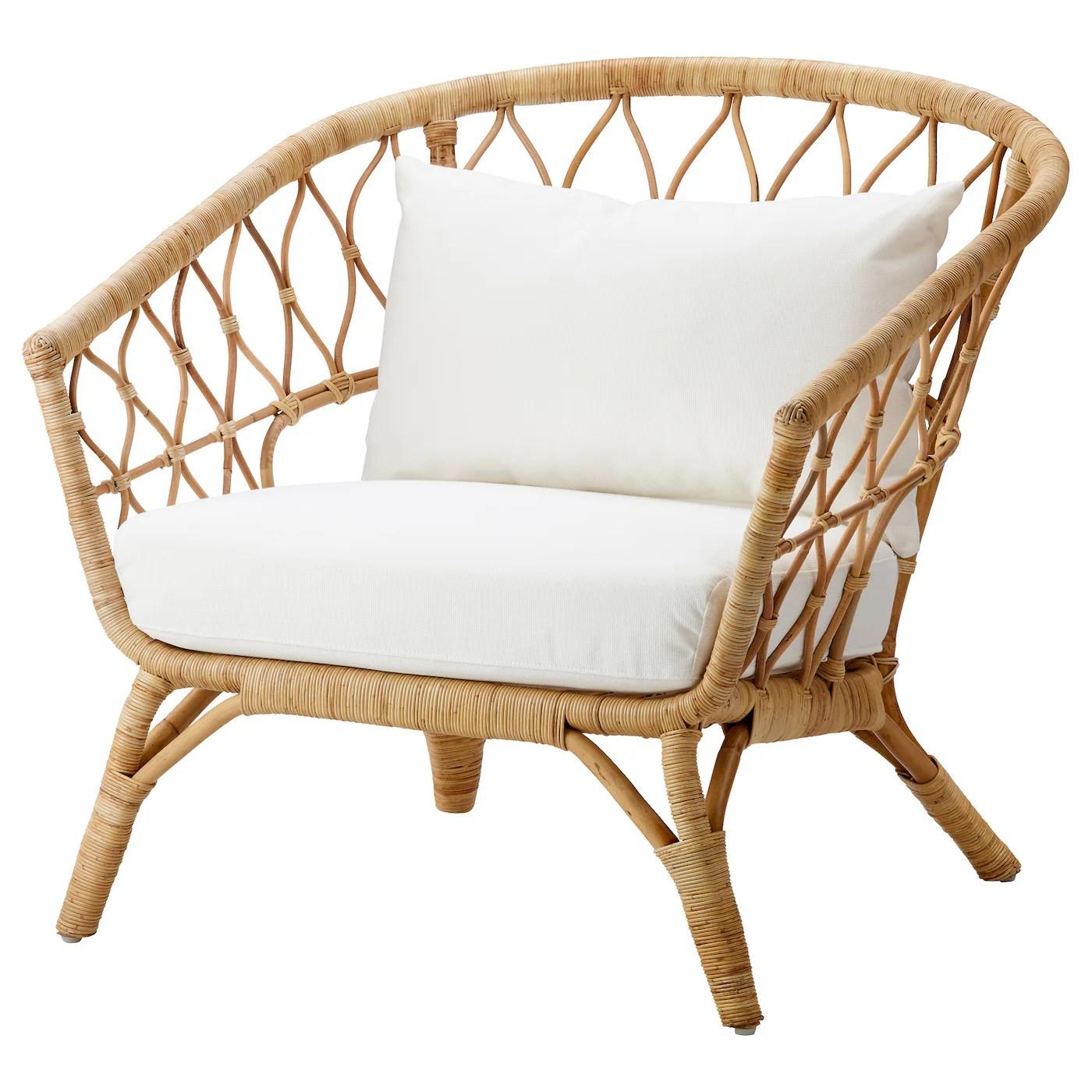 stockholm 2017 fauteuil avec coussin rotin rostanga blanc