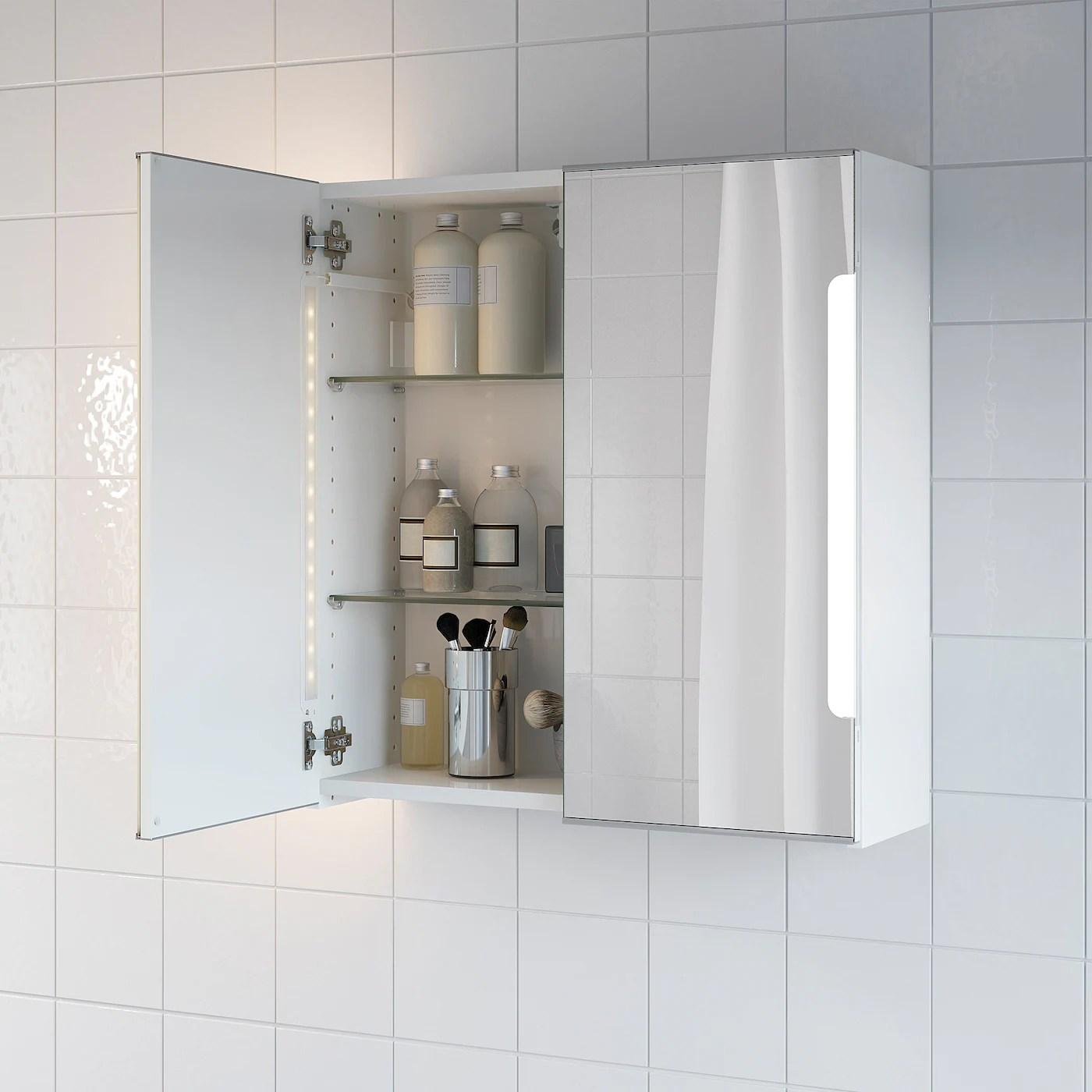 Storjorm Element Miroir 2ptes Eclairage Int Blanc 60x21x64 Cm Ikea