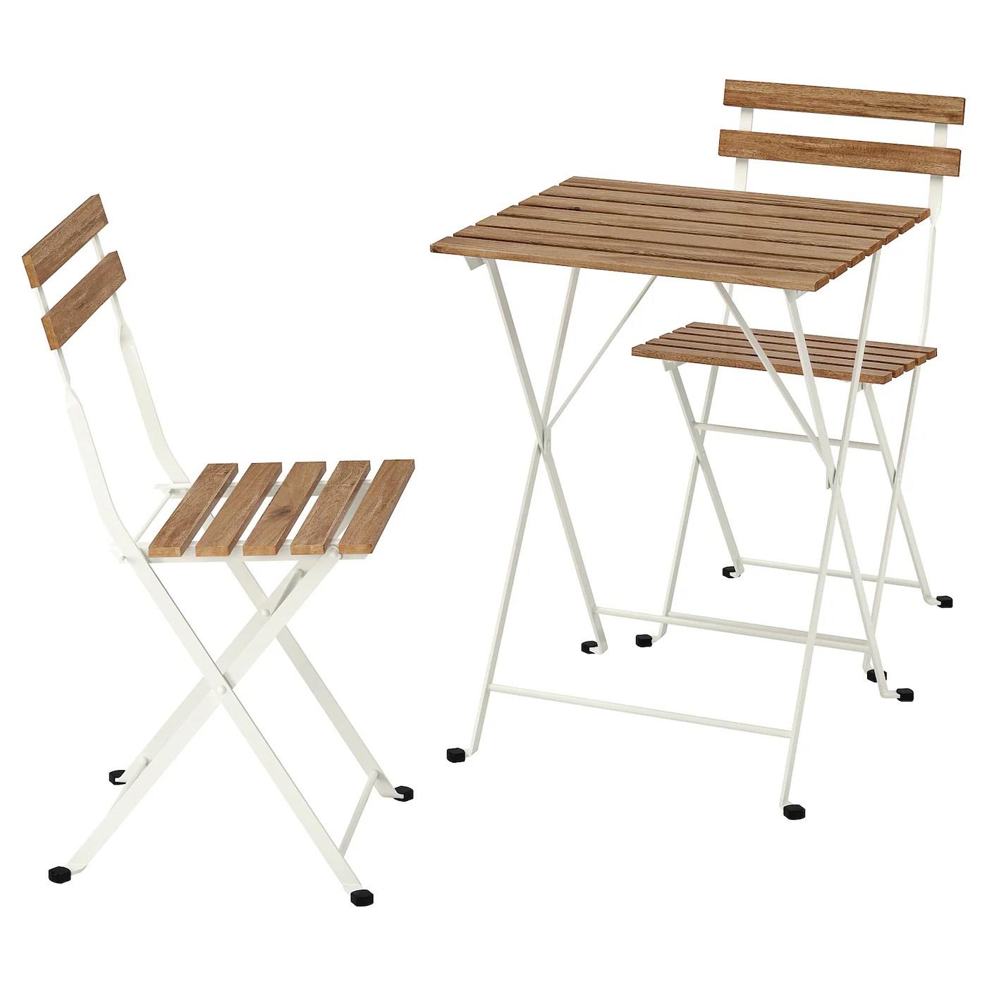 tarno table 2 chaises exterieur blanc teinte brun clair