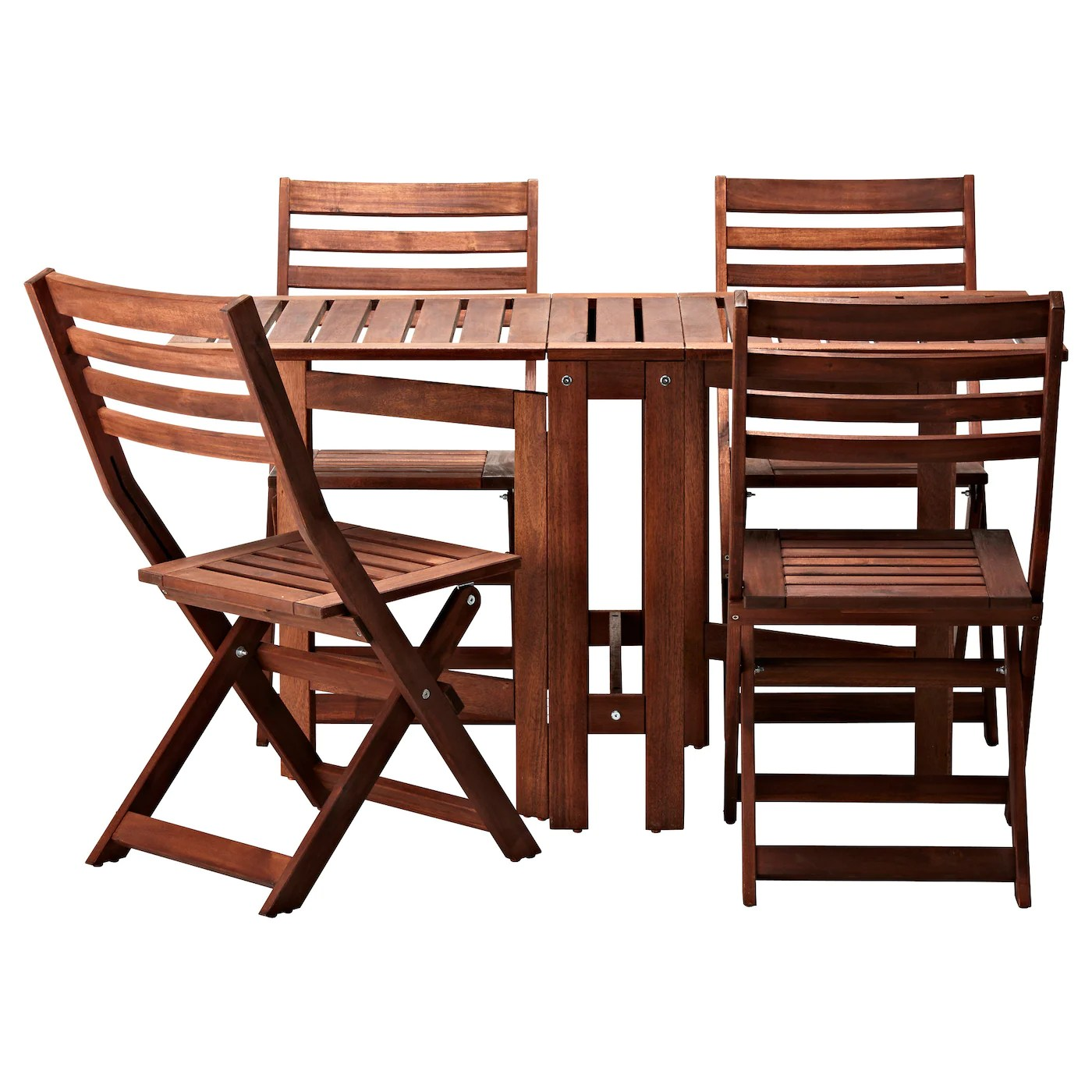 brown wooden folding chairs armchair cover diy ÄpplarÖ table 434 outdoor stained ikea