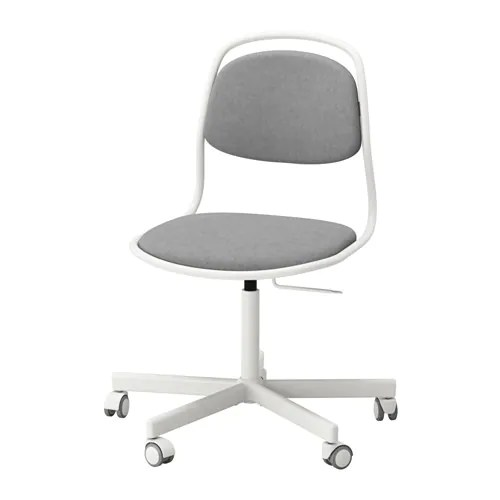 white ikea office chair cheap egg pod orfjall sporren swivel vissle light grey you sit comfortably since the is adjustable in height