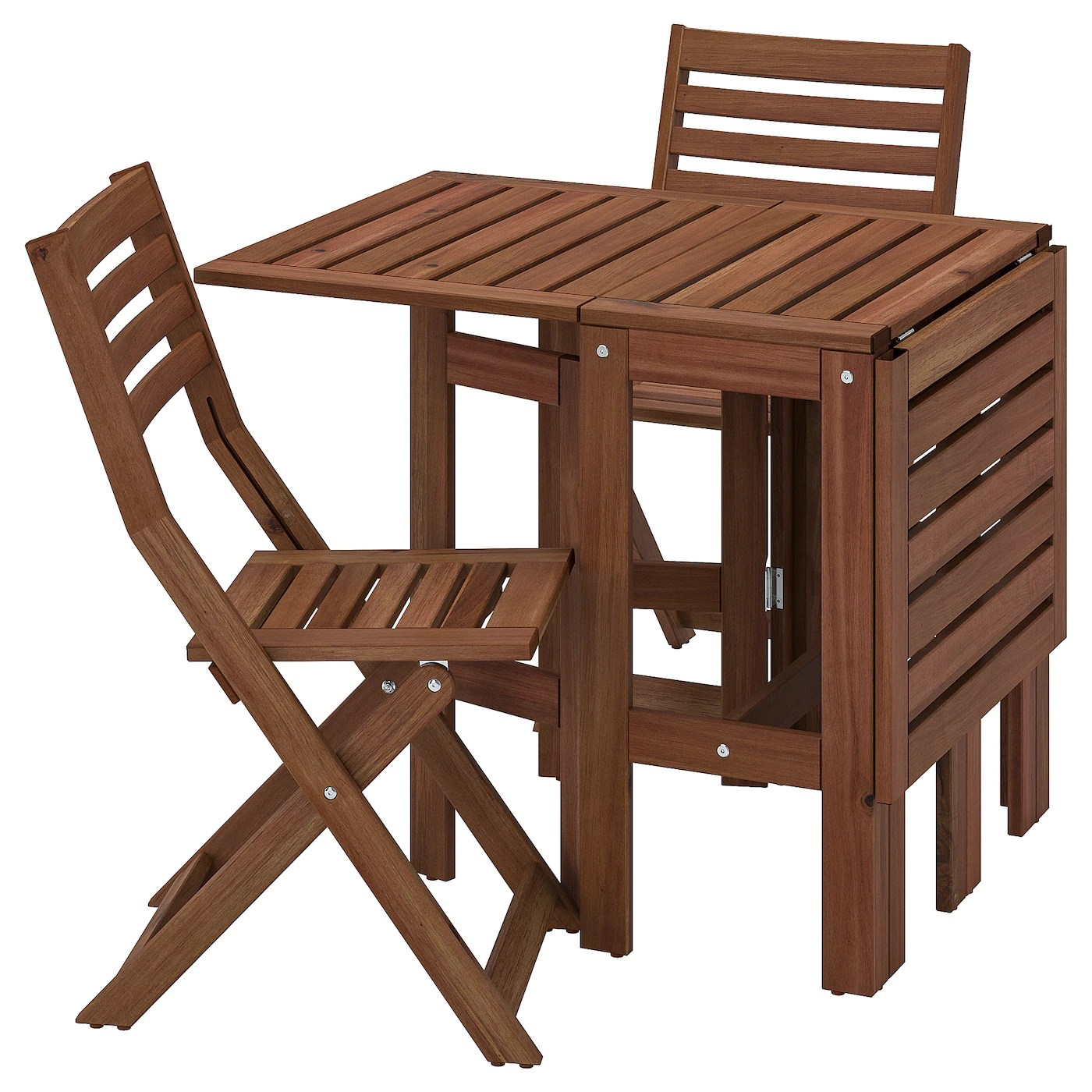 applaro table 2 folding chairs outdoor brown stained