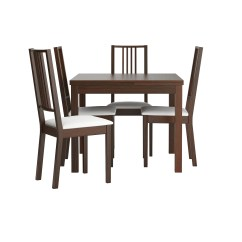 Table And 6 Chairs Memory Foam Butterfly Chair BÖrje Bjursta 4 Brown Gobo White 90 Cm Ikea