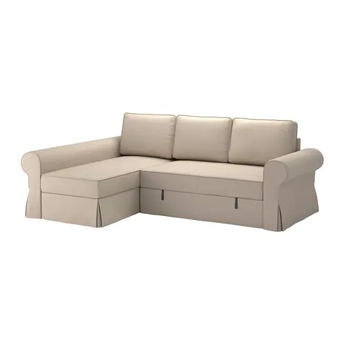 sofa bed and chaise white leather sectional canada backabro with longue ramna beige ikea readily converts into a