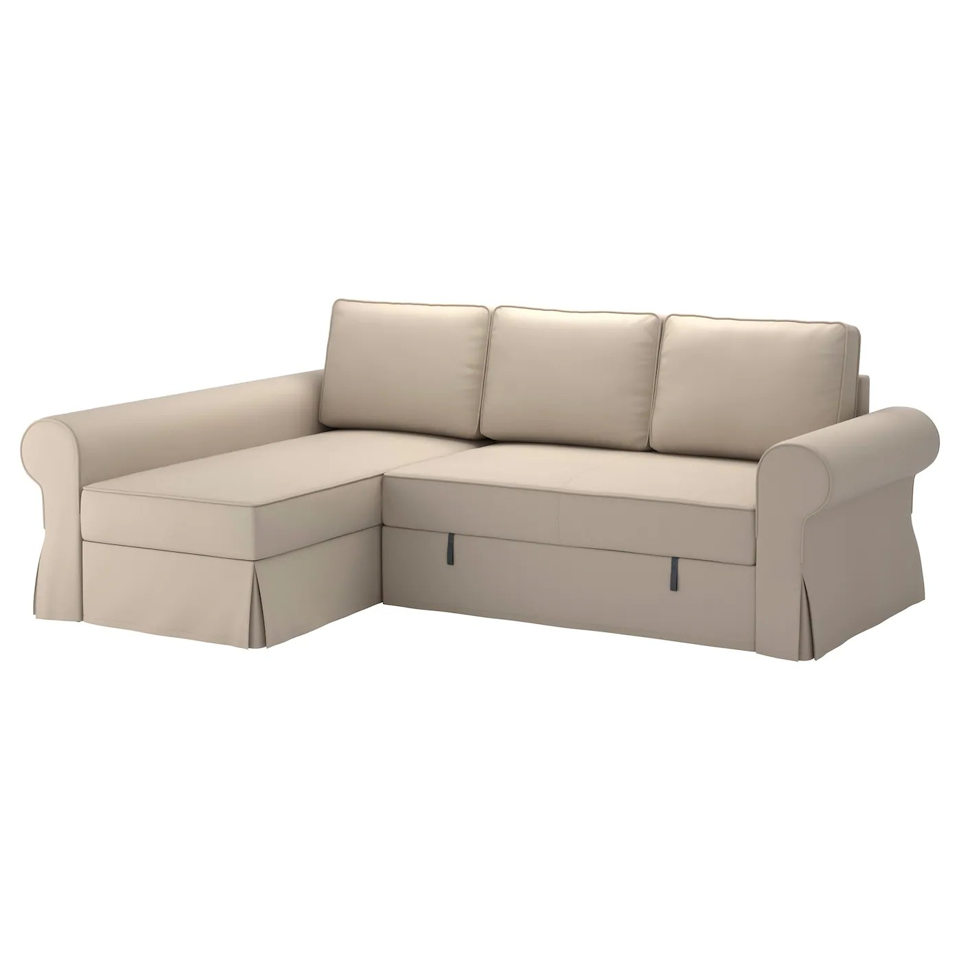 sofa chair bed ikea folding chairs at costco backabro with chaise longue ramna beige