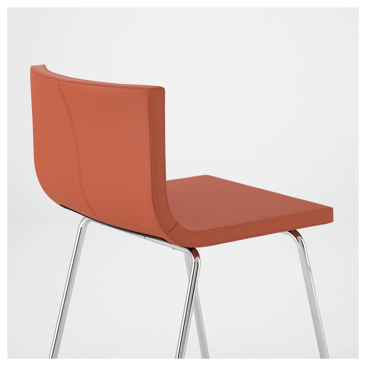 orange cafe chairs white slipcovered dining bernhard bar stool with backrest chrome plated mjuk