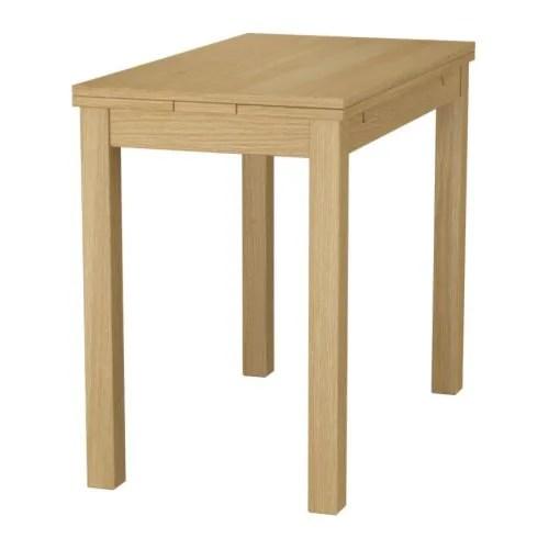 ikea kitchen table with drawers microwave cart bjursta extendable oak veneer 50/70/90 x 90 cm -