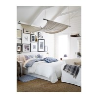 BRUSALI Bed frame with 4 storage boxes White/lury ...
