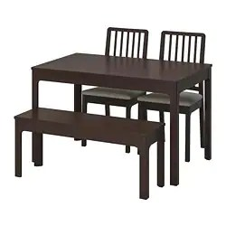 dark kitchen table where to buy a island dining sets room ikea ekedalen with 2 chairs and bench