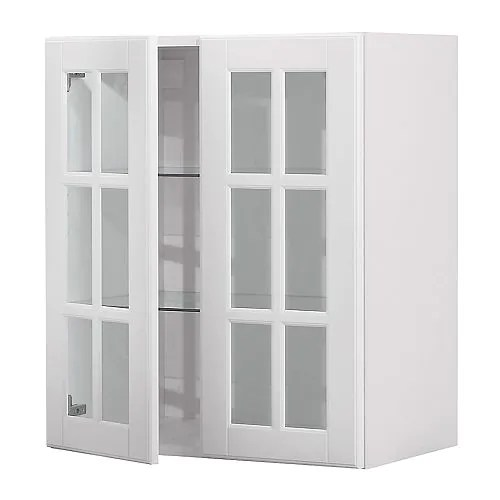FAKTUM Wall cabinet with 2 glass doors off-white Width: 59.8 cm Depth: 37.0 cm Height: 70.0 cm