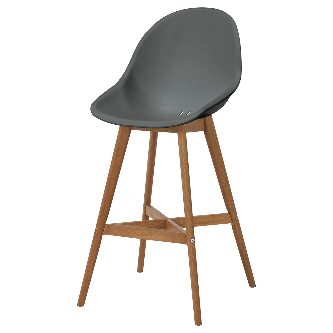 Fanbyn Grey Bar Stool With Backrest Ikea