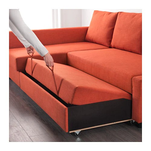 ikea sleeper sofa with chaise toy story friheten corner sofa-bed storage skiftebo dark orange ...