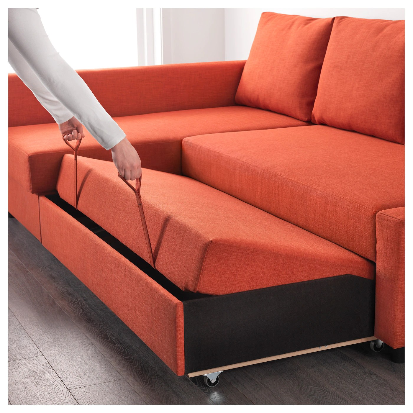 orange and black sofa bed brown beds friheten corner with storage skiftebo dark