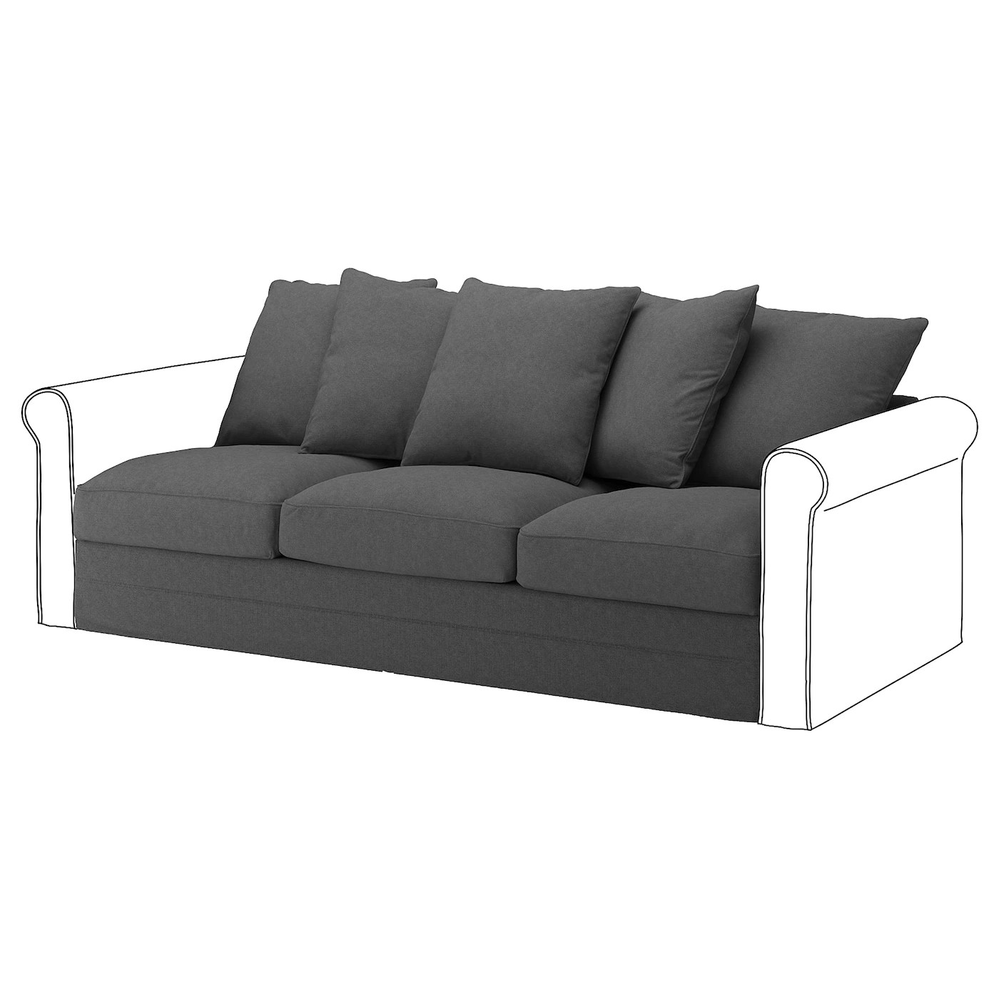 karlstad 3 seat sofa bed cover lazy boy sectional covers ikea gronlid for section