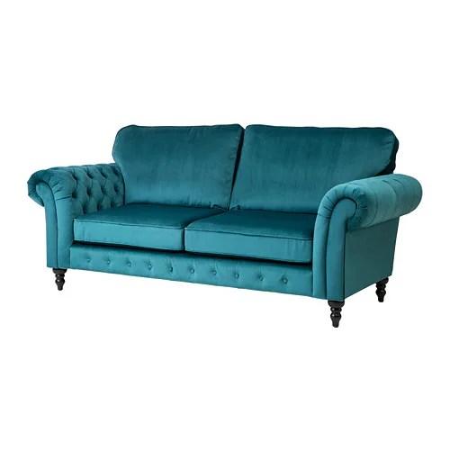 fabric office chairs uk desk chair kids grevie 3-seat sofa velvet blue - ikea