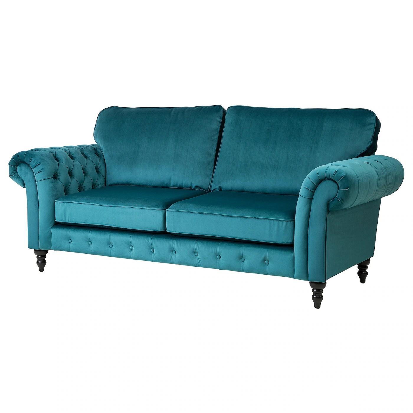 cheap teal sofas futon sofa beds uk grevie 3 seat velvet blue ikea