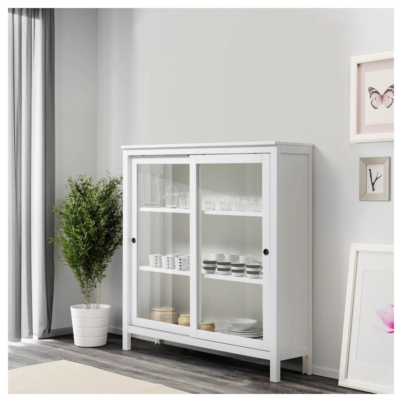 Hemnes Glass Door Cabinet White Stain 120 X 130 Cm