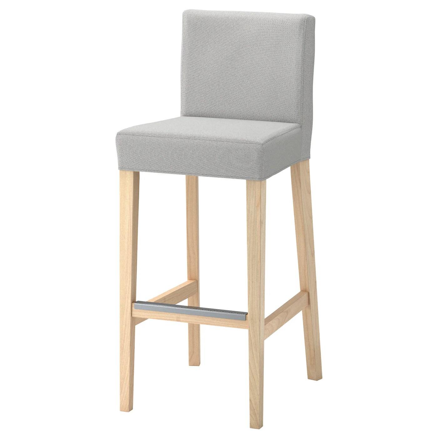 ikea bar chair margaritaville beach chairs henriksdal stool with backrest birch ramna light grey