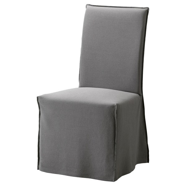HENRIKSDAL Chair with long cover Brownrisane grey IKEA