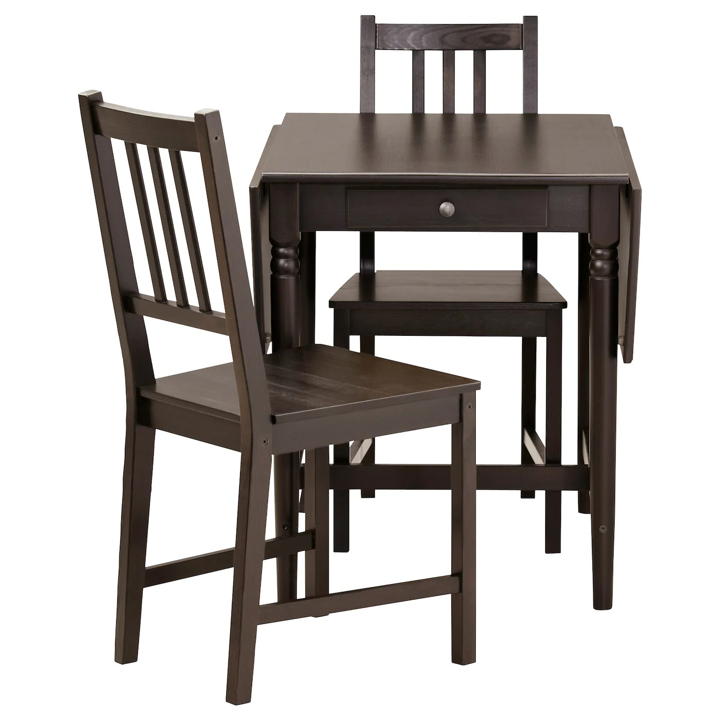 small breakfast table and 2 chairs acrylic side chair ingatorp stefan black brown 59 cm ikea