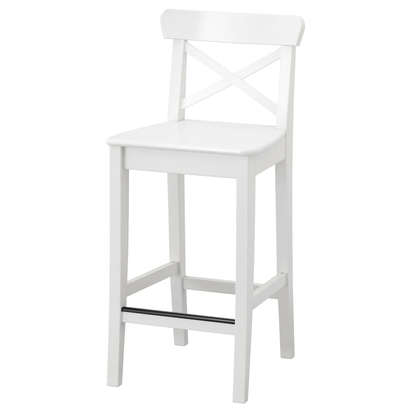 ikea bar chair used lift ingolf stool with backrest white 63 cm
